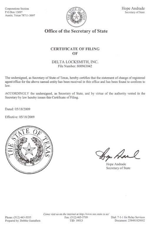 Delta Locksmith Certificate of Filling