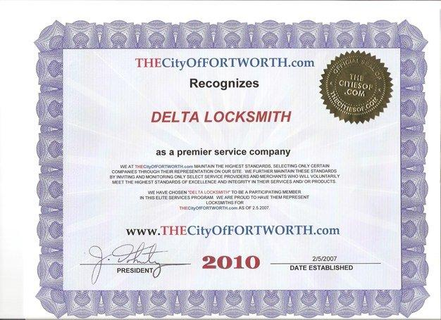 Fort Worth Certificate