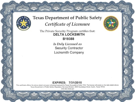 Delta Locksmith License